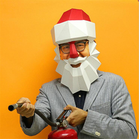 New DIY Origami 3D High Quality Santa Claus Paper Mask Cosplay Halloween Party Amusing Ornament Christmas