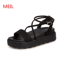 Women Black Sandals Flat Platform Shoes Summer Flats Sandals for Women Ladies Shoes Footwear Woman Slides Slipers Thick Heels asumer black apricot rose red fashion summer ladies shoes buckle thick platform prom shoes women high heels sandals