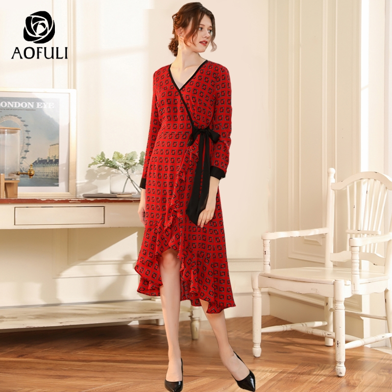 AOFULI Printed Red Mermaid Dresses Autumn Long Sleeve Mid-calf Length Party Dress Ruffle Trumpet Dress L- 3XL 4XL 5XL A3750 Платье