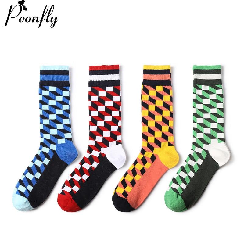 PEONFLY 4 pairs/lot Square Color mens cotton socks Brand Harajuku Men Socks Colorful Dress knit Crew Long Funny Socks