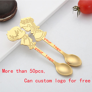 Image 3 - Cartoon  Spoon Creative Milk Coffee Tea Strring Spoon Ice Cream accessories Small Mini Dessert Spoon Flatware Logo customization