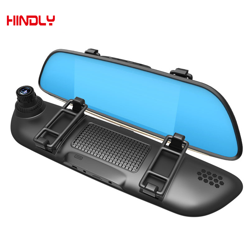 HOT 7 Inch Rearview RAM 1GB ROM 16GB 2 Split View 1080P Dual Lens Record Mirror Car DVR Dual Lens Camera Rear Parking FHD 1080P