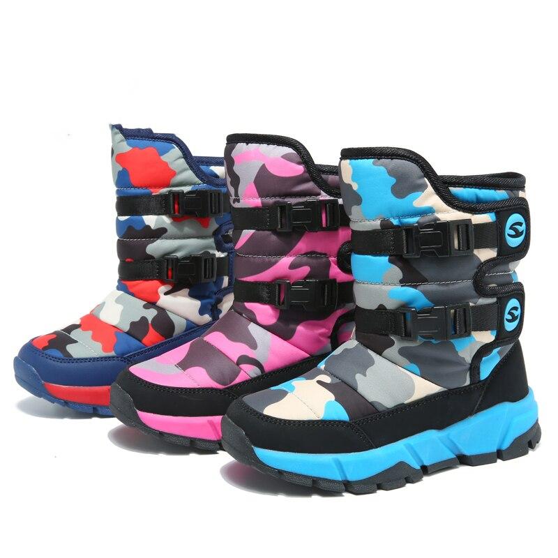 2019 Neue Kinder Stiefel Jungen Mädchen Schuhe Winter Stiefel Outdoor Plüsch Kinder Schuhe Wasser-beweis Studenten Turnschuhe Kinder Stiefel Heller Glanz