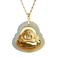 Opening hard gold and Tian Yu Maitreya pendant gold inlaid jade pendant men and women High end gift