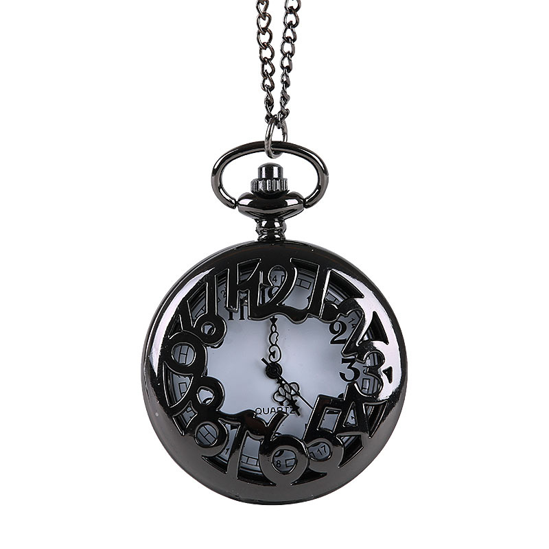 Vintage Creative Black Craved With Big Arabic NumeralsDesign Fashion Quartz Pocket Watch With Necklace Chain