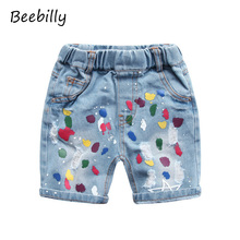 BEEBILLY 2-6T Ripped Jeans Shorts for Girls Summer Style Denim Shorts New Jeans Pants Shorts for Children Print Baby Boys Shorts