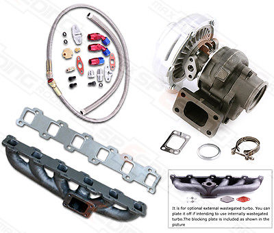 TURBO Collecteur Turbocompresseur KIT Pour Nissan Patrol Safari 4.2L TD42 GQ GU Y60 T3 T4 T3T4 TO4E. 63 A/R Huile Ligne Turbocompresor