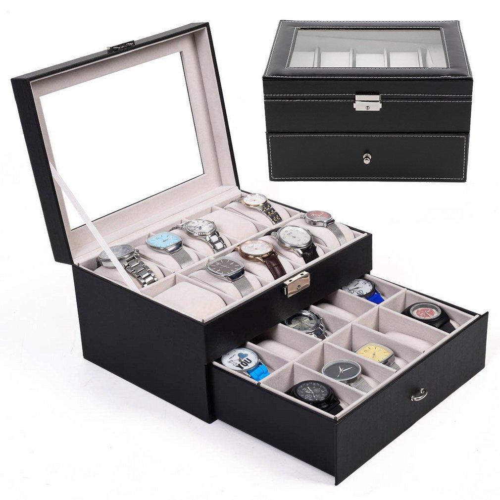 Nouveau Double couche 20 grilles montres boîtes bijoux organisateur montre affichage boîte de rangement boîtier en cuir PU carré bijoux Case