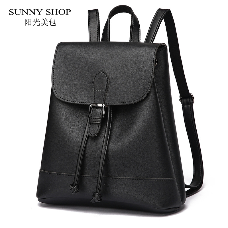 SUNNY SHOP Brand Designer PU Leather Backpack Women High Quality Casual School Bags Preppy Fresh Female backpack School Bagpack sunny shop new flower women drawstring backpack fashion school lady casual print backpack high quality pu leather school bag