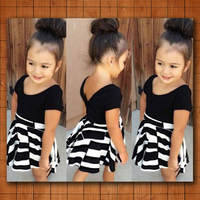 2pcs Baby Girls Clothes T Shirt Striped Skirt Set Kid Summer Dress Outfit Fashion Outfit Clothing