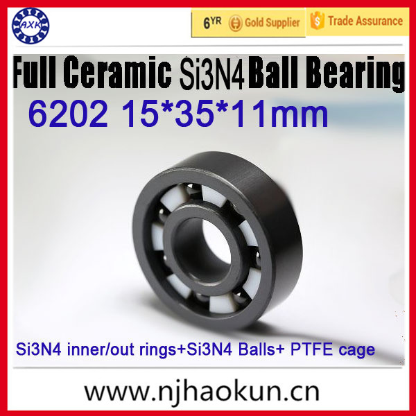 ФОТО 6202 Full Si3n4 ceramic bearing 15*35*11mm  6202 SI3N4 CB ceramic si3n4 rings/balls+ptfe cage