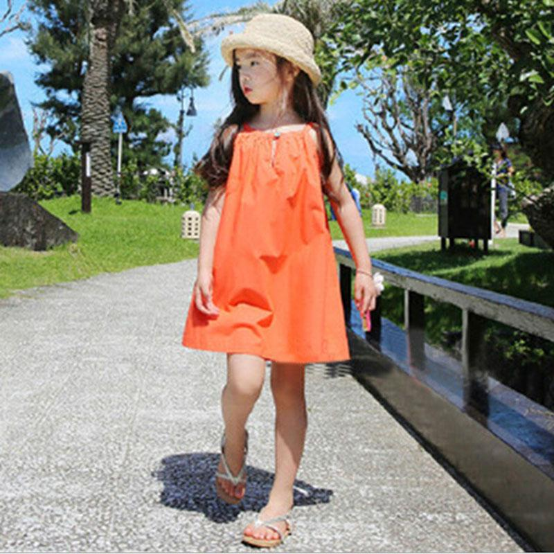 Children Clothing 2017 Cool Summer Girls Solid Color Brief Sleeveless Vest Dress Kid Child Clothes Reveal the Back Beach Dresses