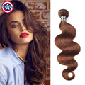 Brazilian Virgin Hair Body Wave Medium Brown Hair Extensions Color 4# Brazilian Body Wave 1 Bundle Medium Brown Human Hair Weave