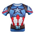 2016 Marvel Comic Superhero Compression Shirt Superman Captain America Iron man Fit Tight  Bodybuilding T Shirt