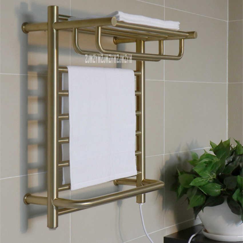 xy pmk1100 household 304 stainless steel electric towel drying rack wall mounted towel warmer bathroom golden heated towel rail
