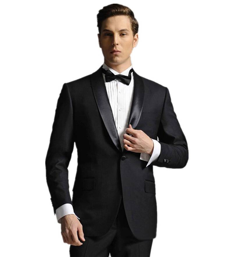 New Arrival Mens Suits Groomsmen Shawl Satin Lapel Groom Tuxedos Black Wedding Best Man Suit (Jacket+Pants+Tie+Girdle) B643