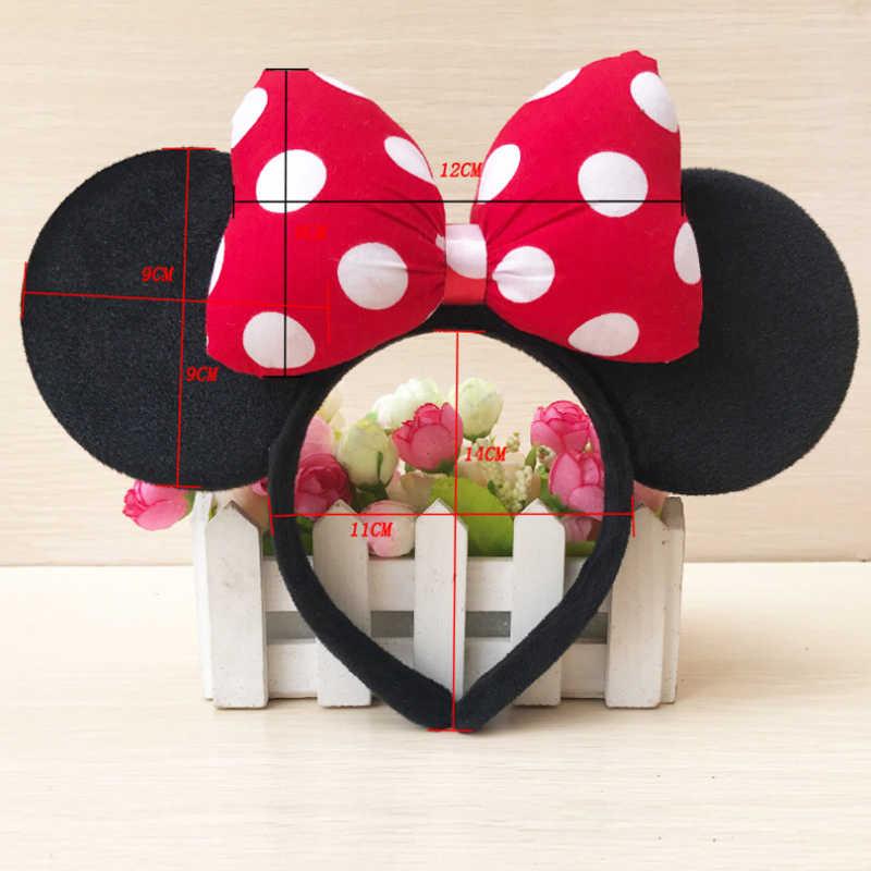 Дисней Высокое качество Микки Минни Блестящий ободок для волос черная мышка уши ободки головной убор женские банты для волос аксессуары для дня рождения