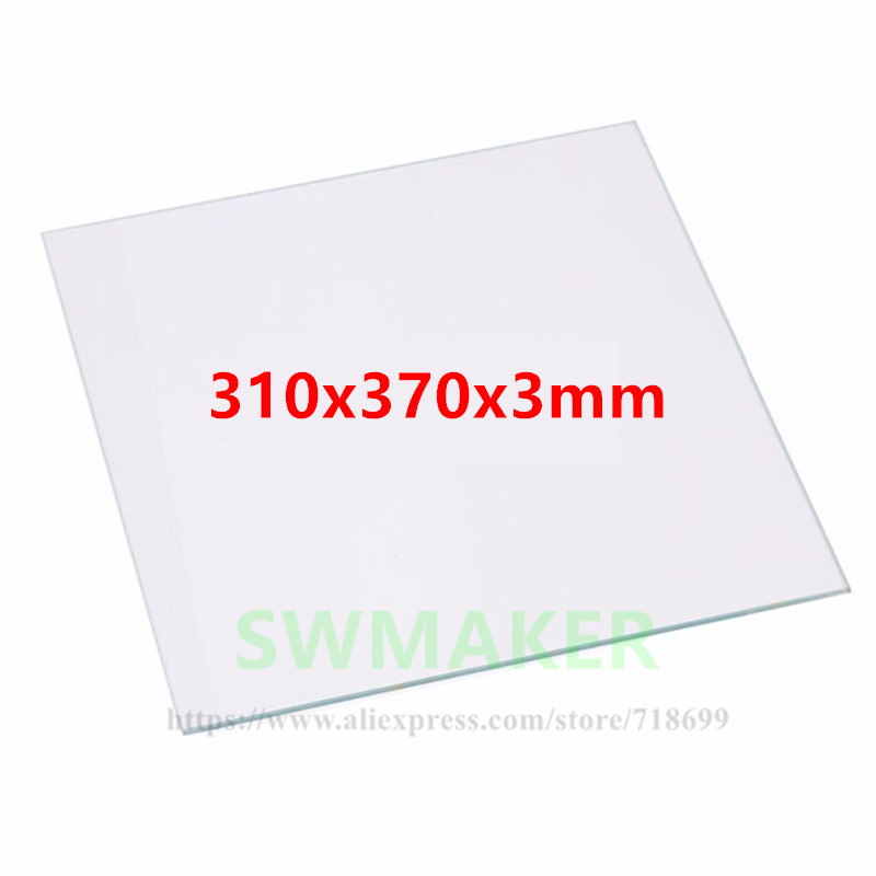 SWMAKER 310x370x3mm Borosilicate Glass Plate Bed Polished Edge for TEVO Tornado 3D Printer heated bed tevo tornado 3d printer 95