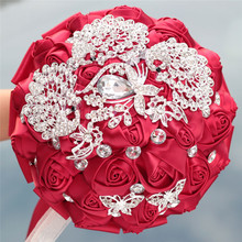 6 different styles new wine red ribbon simulation bouquet bride wedding bouquet rhinestone pearl decoration wedding bouquet