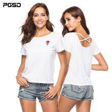 PGSD Summer casual Tee Rose embroidery girl Simple Pullover O-neck short sleeve Back cross white T-shirt female women clothes купить дешево онлайн