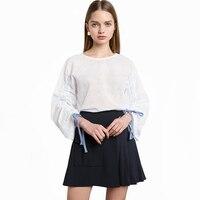 Para mujer Blusas de Las Señoras de Oficina Camisetas Blanco Blusa Coreana de Ropa Barata de China brazalete de encaje de malla Camisa Mujer Tops Verano Camisas Mujer