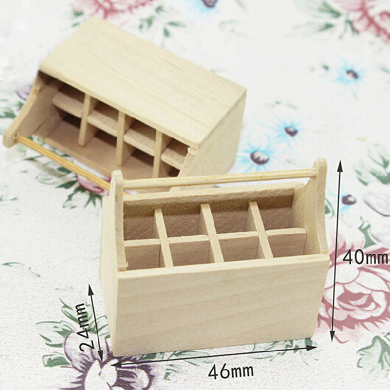 Life Scenes Dolls Accessories Model Toy (Tool Not Including) 1/12 Scale Miniature Dollhouse Wooden Toolkit Toolbox Furniture Set