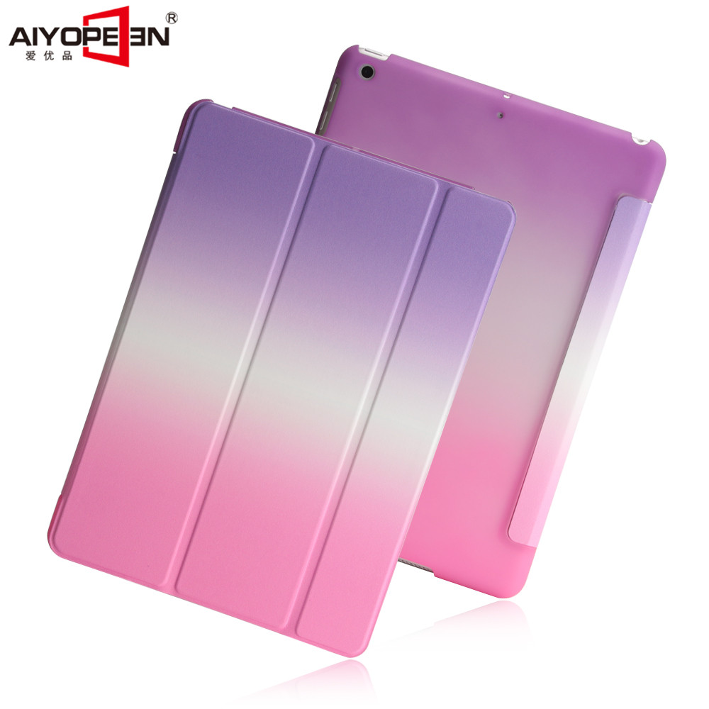 for new ipad 9.7 case 2017 release smart wake up sleep pu leather with pc back cover rainbow gradient 3 fold magnetic stand for ipad air2 case pu leather smart wake up sleep solid pc back cover magnetic flip stand origimi brand aiyopeen with gift