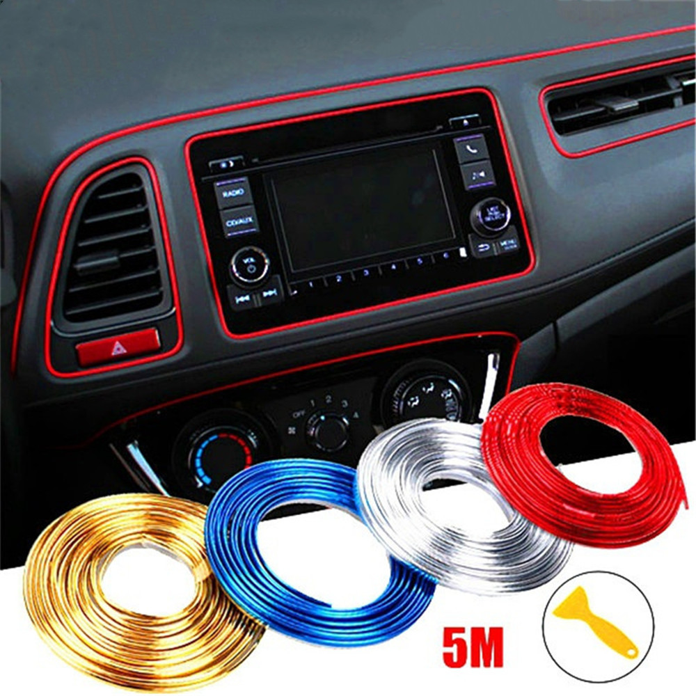 3/5m Adhesive Strips Car Interior Decoration Sicker Molding Door Line Air Vent Panel Direction-Flexible Wheel In Car Styling