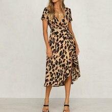 13c928cb2b Feitong 2018 Womens Leopard Print Boho Maxi Dress Ladies Holiday Long Short  Sleeve Dress(China