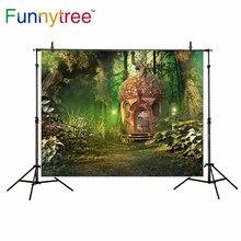 Funnytree casa cogumelo primavera selva país das maravilhas do conto de fadas fundo fotografia pano de fundo da foto estúdio fotográfico decor