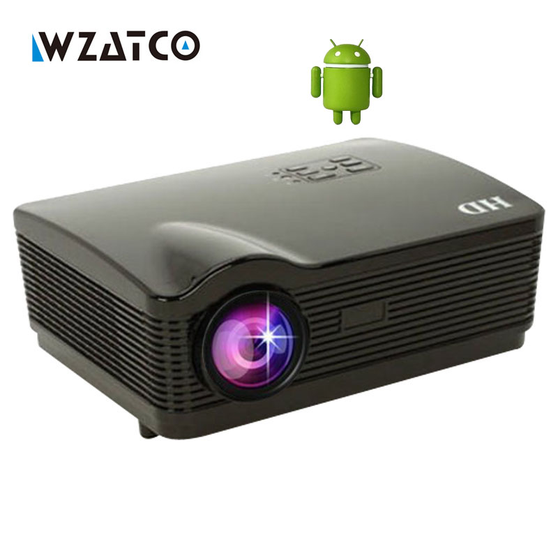 WZATCO Full HD 1280x800pixels android smart WiFi HD TV video game lcd led 3D home projector proyector 1080p High Contrast 5000:1 wzatco led96 tv projector full hd 1080p android 4 4 wifi smart rj45 3d home theater video proyector lcd projector beamer for ktv