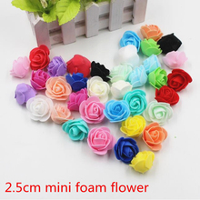 30pcs Mini PE Foam Rose Artificial Flowers For Wedding Car Decoration DIY Pompom Wreath Decorative Valentine's day Fake Flowers