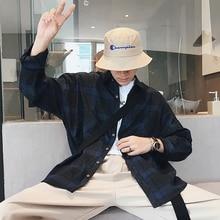 Japan Style Cotton Leisure Lattice Men Loose Shirt 2018 Autumn New Arrivel Casual Neutral Youth Long Sleeve Camisa Homme M-2XL