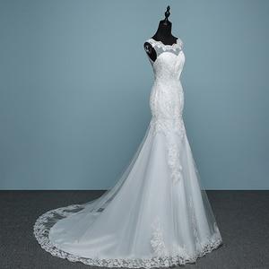 Image 3 - Vestido De novia De encaje blanco puro De lujo, sirena con Espalda descubierta, tren pequeño, novedad 2020