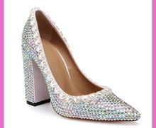 Sexy pointed toe high heels pumps shoes Fashion women pearls diamonds thick heels shoes Chic wedding shoes  EU35-41 BY524 women s shoes fashion women pumps sexy leopard grain high heels shoes 2017 womens horsehair thick heels pointed toe rivets shoes