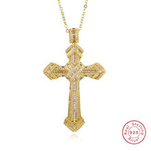 Luxury Jewelry Christianity Cross Pendants sona diamond painting full Real 925 silver & 14K gold Hip hop Necklace For women men(China)