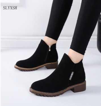 SLYXSH Moda Kadın Çizmeler Sonbahar Kış Çizmeler Klasik Fermuar Kar yarım çizmeler Kış Süet Sıcak Kürk Peluş Kadın Ayakkabı