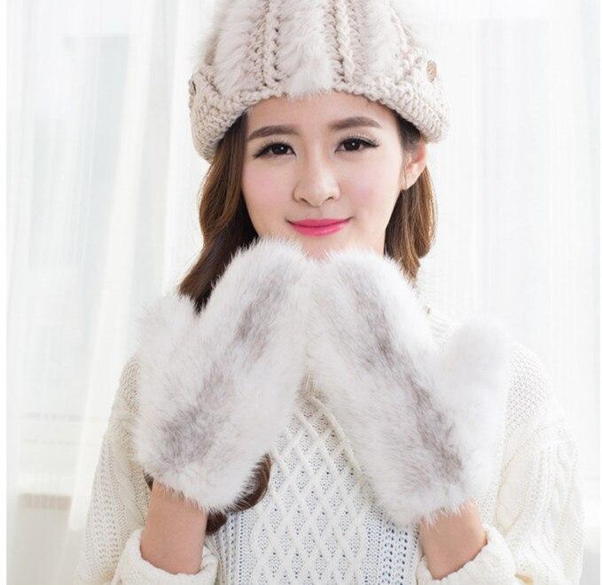 Importé fourrure de vison tricot gants haute qualité réel de fourrure de vison pleine doigt chaud d'hiver gants hommes femmes mitaines