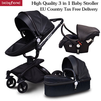 Babyfond   3 in 1 EU high quality 2 in 1 stroller PU waterproof leather material with car seat aluminum frame pram