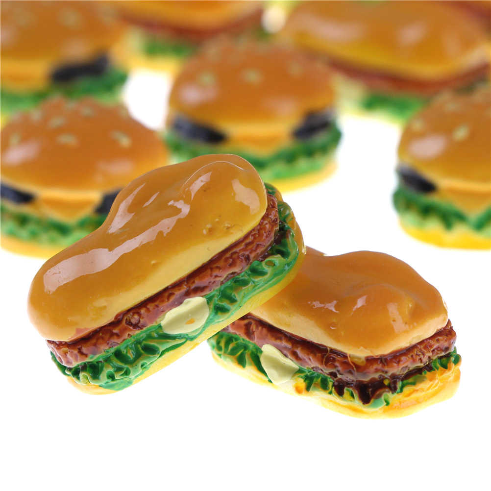 2 PCS 2 Styles Hamburger Cute Miniature Food Figurine Anime Action Figure Toys DIY Accessories Home Garden Decor Hamburgers