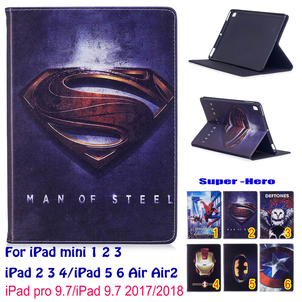Spiderman Superman Pattern Case For Apple iPad mini 1 2 3 iPad 5 6 Air Air2 iPad 9.7 2017 2018 iPad 4 Case Tablet Stand Funda for apple ipad air 2 case cute cartoon tablet stand case folded with card holder for ipad 6 tablet cases stylus