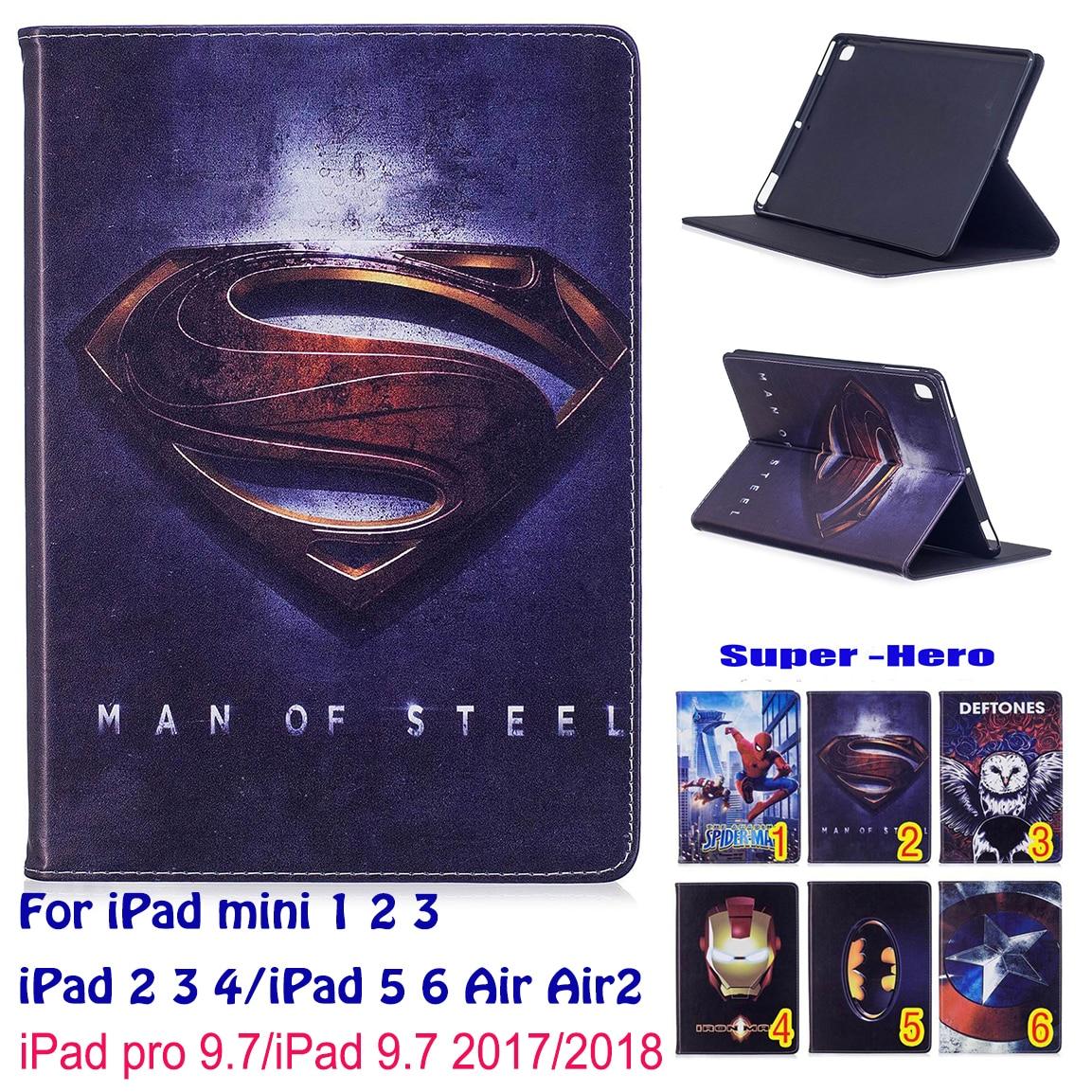 Spiderman Superman Pattern Case For Apple iPad mini 1 2 3 iPad 5 6 Air Air2 iPad 9.7 2017 2018 iPad 4 Case Tablet Stand Funda цена