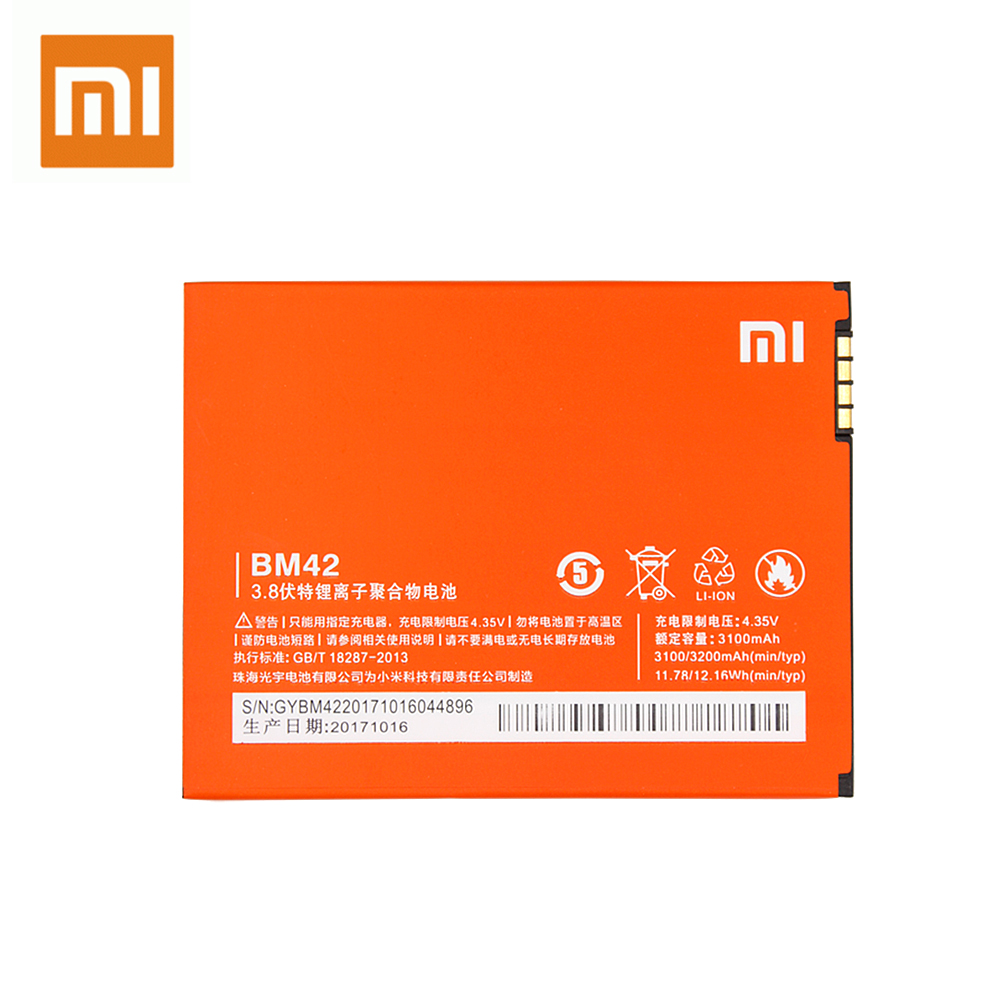 Xiao Mi Original Replacement Battery BM42 For Xiaomi Redmi Note 4G Prime Hongmi Note 3100mAh Rechargeable Phone Batteria Akku in Mobile Phone Batteries from Cellphones Telecommunications