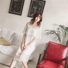 Japan Style Palace Princess Dress Nightdress Half-sleeved Women Nightgowns Modal Polyester Soft Summer Spring Sleepwear