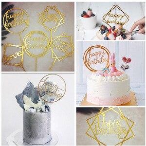 Зеркальный эффект, золотой Топпер для торта «С Днем Рождения», акриловый детский душ, флажки для торта, украшения для торта, свадьбы