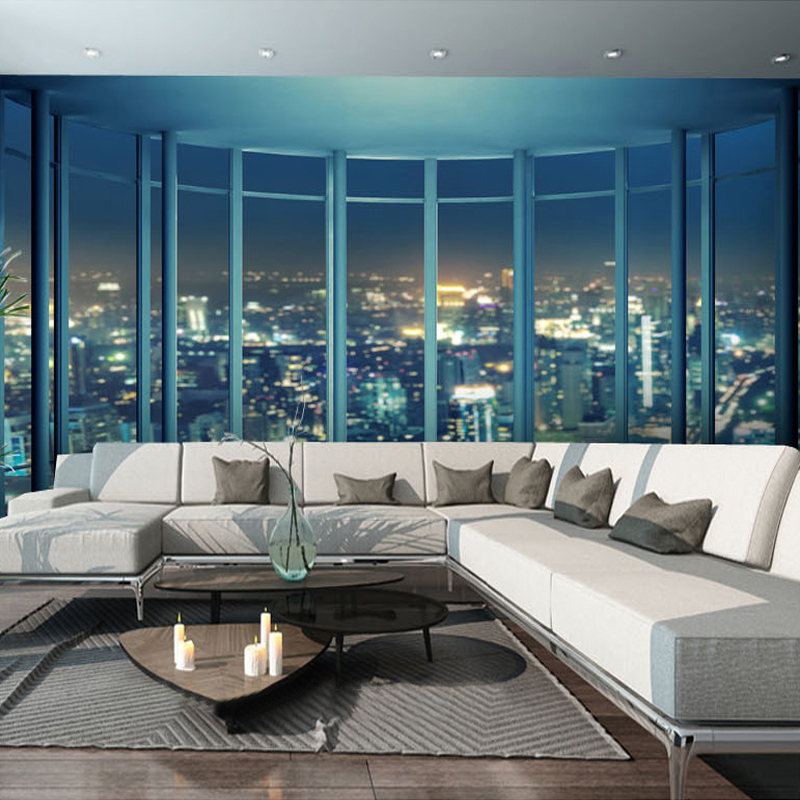 Custom Size 3D Photo Wallpaper Outside The Window City Night View 3D Visual TV Background Wall Mural Home Decorative Paintings world outside the window paper