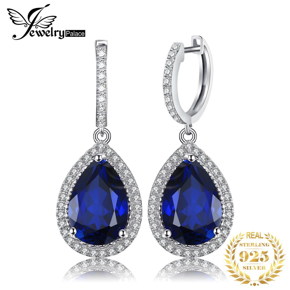 Jewelrypalace Luxury Pear Cut 12 4ct Blue Created Sapphire Dangle Earrings Solid 925 Sterling Silver Fine
