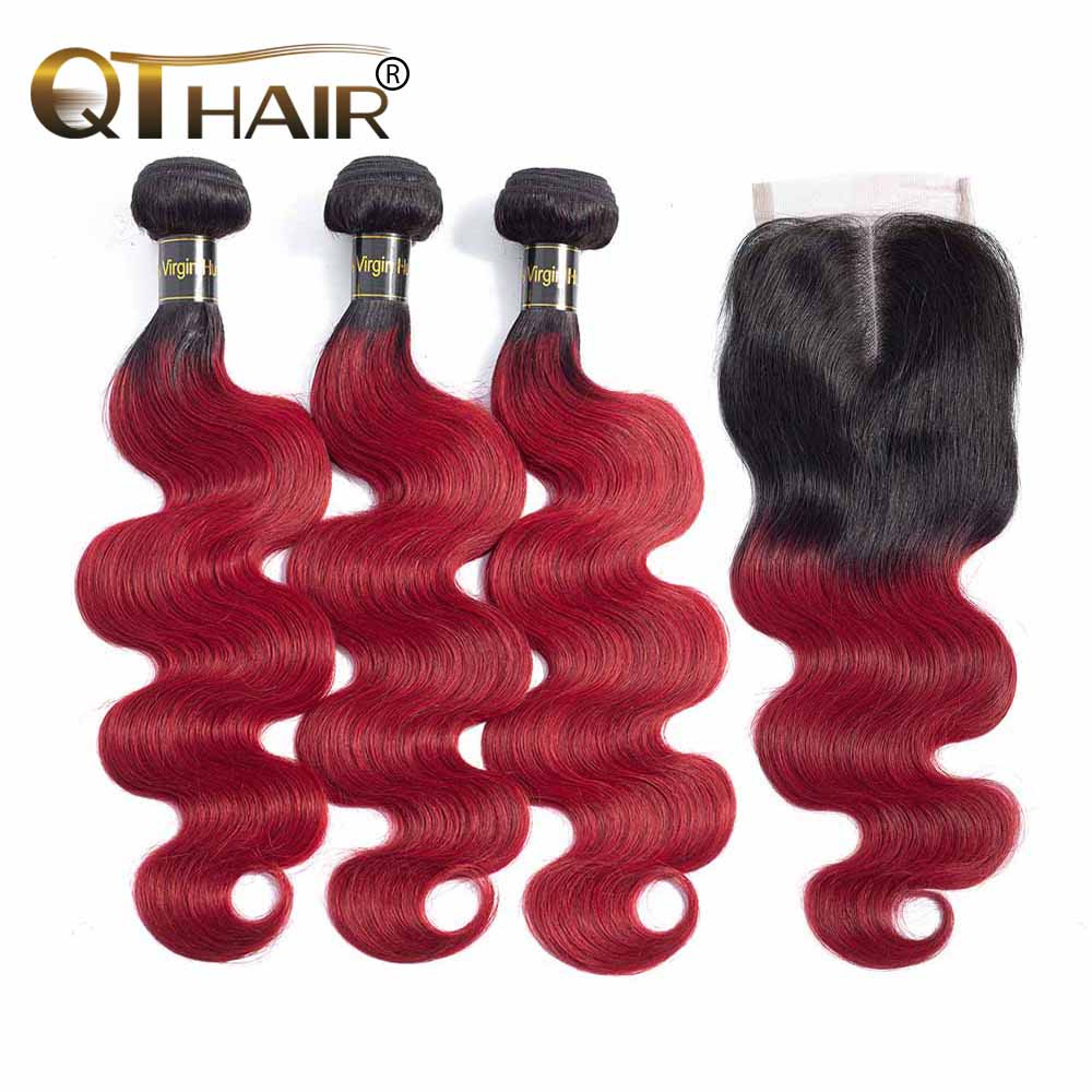 QT Burgundy <font><b>Ombre</b></font> Human Hair <font><b>With</b></font> <font><b>Closure</b></font> <font><b>Peruvian</b></font> <font><b>Body</b></font> <font><b>Wave</b></font> 3/4 <font><b>Bundles</b></font> <font><b>With</b></font> <font><b>Closure</b></font> Non Remy Wine Dark Red Colored Hair Weave image