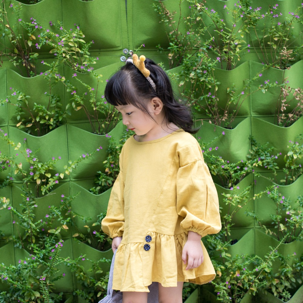 2018 Hot Selling Girls Cotton Dress Solid Color Full Sleeve Baby ...
