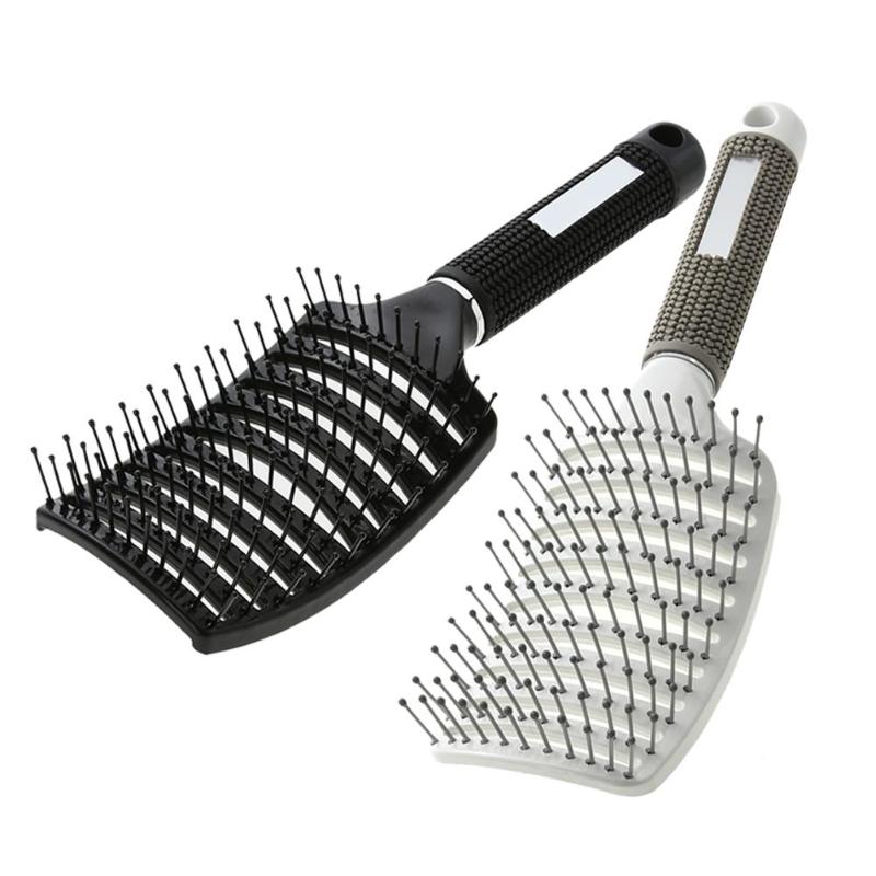 Professional Ribs Comb Hairbrush Big Bent Comb Women Wet Plastic Nylon Massage Hair Care Styling Hair Combs Hair Accessories